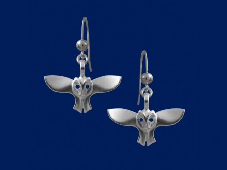 Taigakoru Owl, earrings (hook), silber