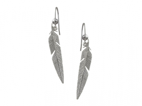 Taigakoru Feather, earrings (hook), silber