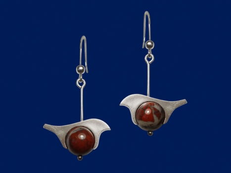 Taigakoru Bullfinch, earrings, silver