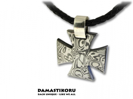 Damastikoru special iron Cross pendant, Damascus steel