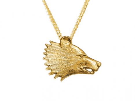 Taigakoru Bear head, pendant, gold