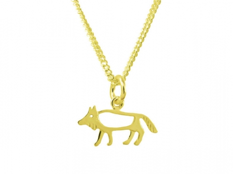 Taigakoru The Wolf, small pendant, gold