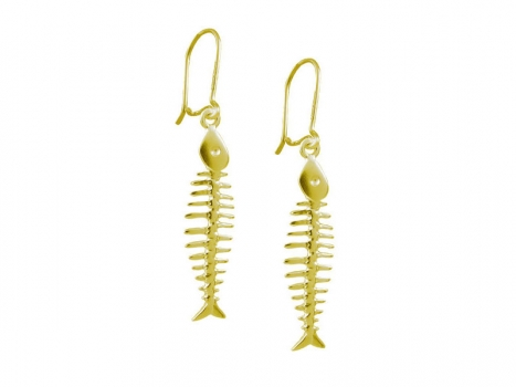 Taigakoru Fish-bone, earrings, gold