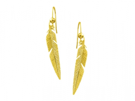 Taigakoru Feather, earrings (hook), gold