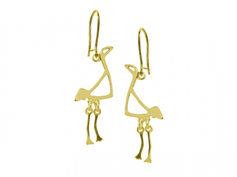 Taigakoru Crane, small earrings, gold