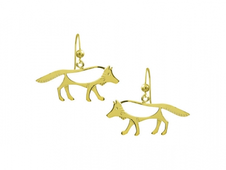 Taigakoru The Wolf, earrings, gold