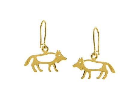 Taigakoru The Wolf, small earrings, gold