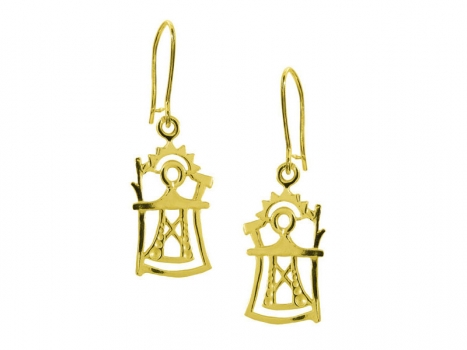 Taigakoru The God of Thunder, small earrings, gold