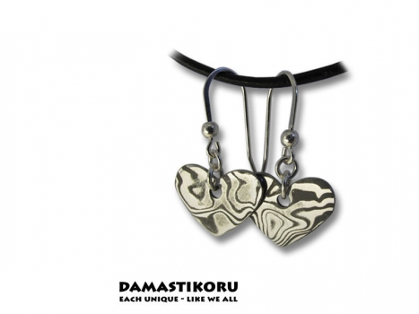 Damastikoru Heart earrings, Damascus steel