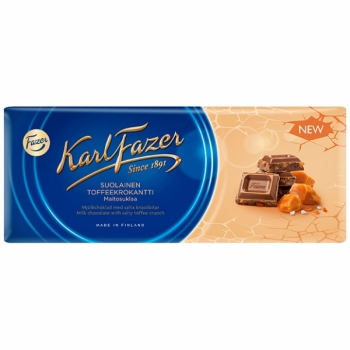 Fazer Salty Toffee Crunch in Milk Chocolate, 22 x 200g