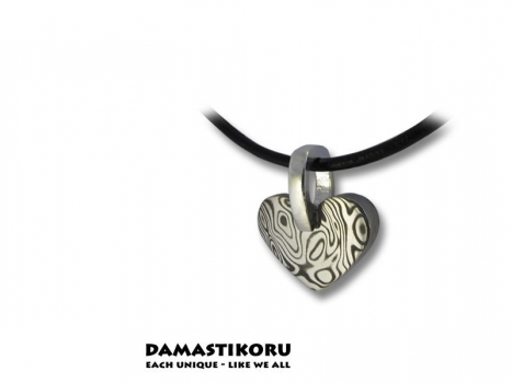 Damastikoru Small thick heart pendant, Damascus steel