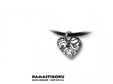 Damastikoru Small thin heart pendant, Damascus steel