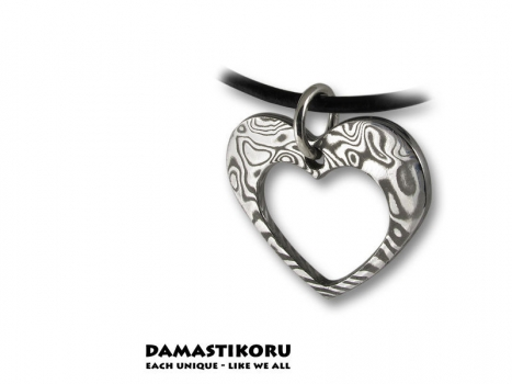 Damastikoru tiny heart pendant, Damascus steel