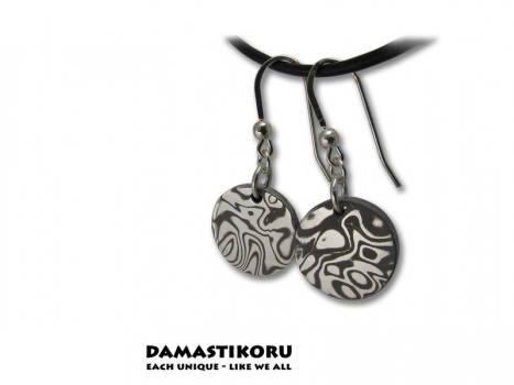 Damastikoru Sun earrings, Damascus steel