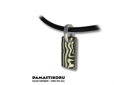 Damastikoru small Brick pendant, Damascus steel