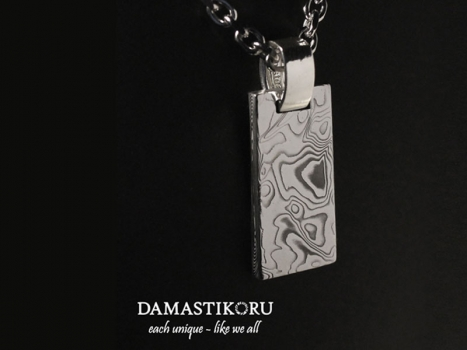 Damastikoru Brick pendant, Damascus steel
