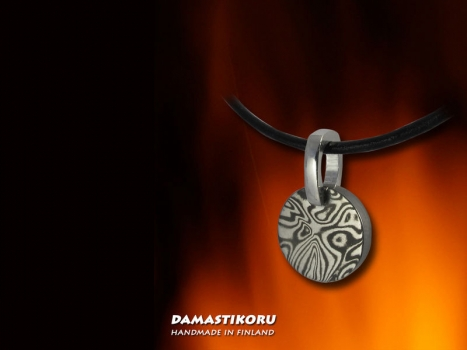 Damastikoru small Sun pendant, Damascus steel