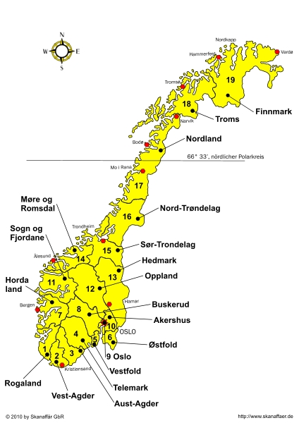 Provinzenkarte Norwegen Kostenlos Skanaffaerde